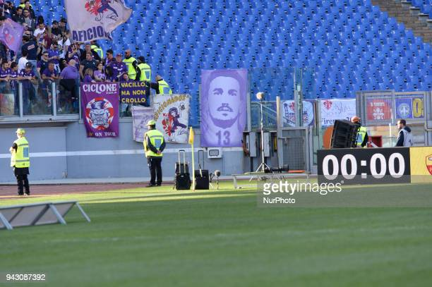 Banner dedicated to Davide Astori during the Italian Serie A football match between AS Roma and ACF Fiorentina at the Olympic Stadium in Rome on...