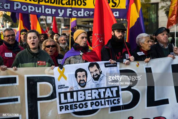 A banner demanding freedom for imprisoned Catalan leaders during a demonstration against Monarchy demonstrators are demanding a 3rd Republic the day...