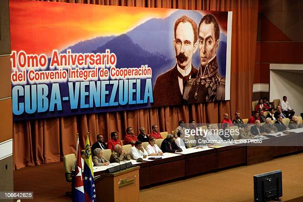 A banner depicting images of Jose Marti Cuban national hero and Simon Bolivar Venezuelan national hero adorn the background at a meeting in the...