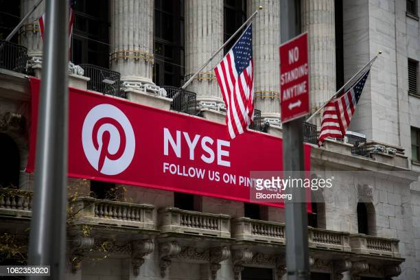 A banner displaying Pinterest Inc signage hangs in front of the New York Stock Exchange in New York US on Friday Nov 16 2018 US equity indexes...