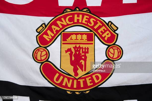 Banner displaying the Manchester United club badge the Barclays FA Women's Super League match between Manchester United Women and Bristol City Women...