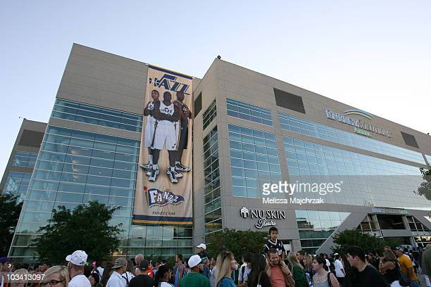 A banner dropped displaying the new Jazz uniform after the Utah Jazz unveiling of the new uniforms at EnergySolutions Arena on August 16 2010 in Salt...