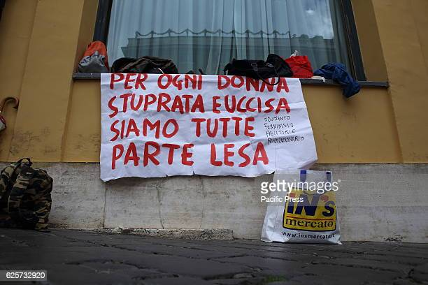 A banner during the demonstration of the workers in front of Italian Parliament against all violence masters government state men for the...