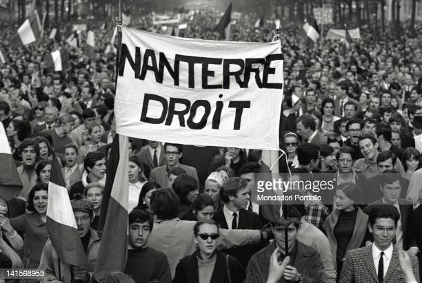 A banner exalting the rights of Nanterre University during the demonstration of De Gaulle supporters in the ChampsElysTes after the decision of the...