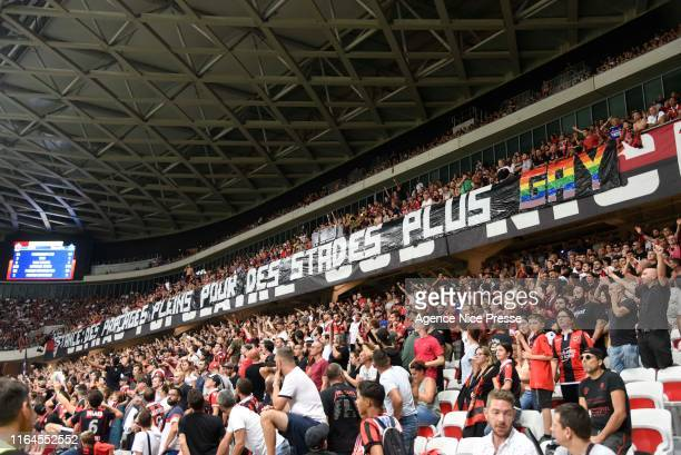 Banner Fans Nice during the Ligue 1 match between OGC Nice and Olympique de Marseille on August 28, 2019 in Nice, France.