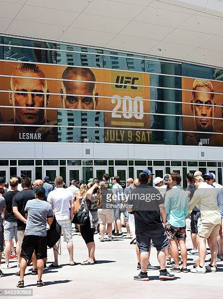 A banner featuring fighters for UFC 200 at TMobile Arena shows half of an image of mixed martial artist Daniel Cormier and a blank space where an...