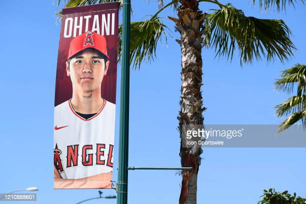 A banner featuring Los Angeles Angels designated hitter Shohei Ohtani outside Angel Stadium on April 24 2020 in Anaheim CA