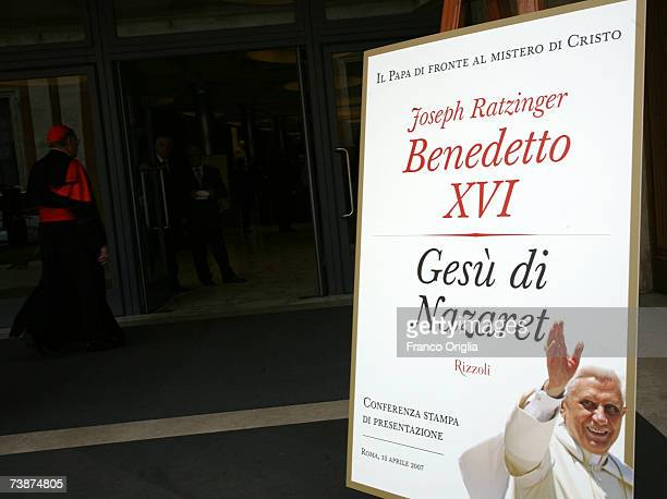 A banner featuring the cover of Pope Benedict XVI latest book 'Jesus of Nazareth' prior to the media conference at the Sinodo Hall on April 13 in...