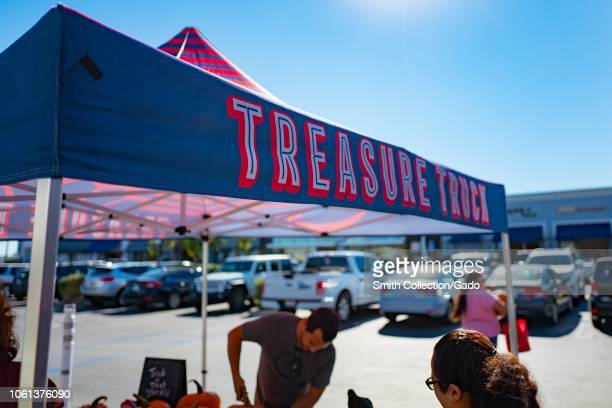 Banner for Amazon Treasure Truck a mobile popup store operated by Amazon as part of the Amazon Prime program parked in a shopping development in the...