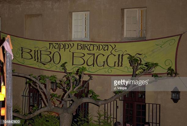 Banner for Bilbo Baggins's Birthday during Cannes 2001 The Lord of the Rings Party in Cannes France