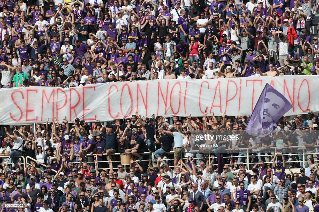 A banner for Davide Astori during the serie A match between ACF Fiorentina and Cagliari Calcio at Stadio Artemio Franchi on May 13, 2018 in Florence, Italy.