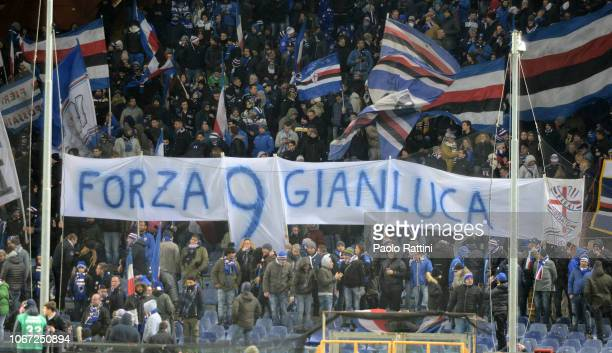 Banner for Gianluca Vialli during the Serie A match between UC Sampdoria and Bologna FC at Stadio Luigi Ferraris on December 2 2018 in Genoa Italy