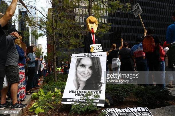 A banner for Heather Heyer is being displayed during a protest against racism and hate in Chicago United States on August 27 2017 People from...