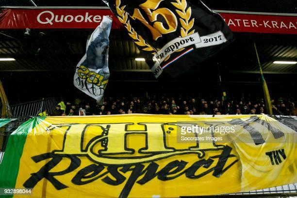 Banner for Lennart Thy of VVV Venlo during the Dutch Eredivisie match between Excelsior v ADO Den Haag at the Van Donge & De Roo Stadium on March 16,...
