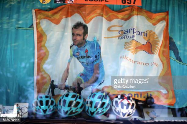 A banner for Michele Scarponi is seen in the front window of the Astana team bus during stage 14 of the 2017 Le Tour de France a 1815km stage from...