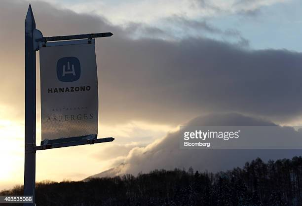 A banner for Niseko Hanazono resort operated by Nihon Harmony Resorts KK is seen outside the resort in Kutchan Hokkaido Japan on Sunday Feb 15 2015...