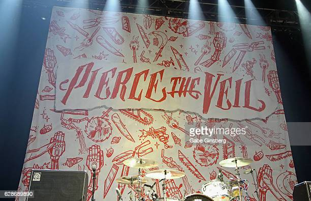 A banner for Pierce the Vail is displayed during X1075's Holiday Havoc 2016 show at The Pearl concert theater at Palms Casino Resort on December 8...