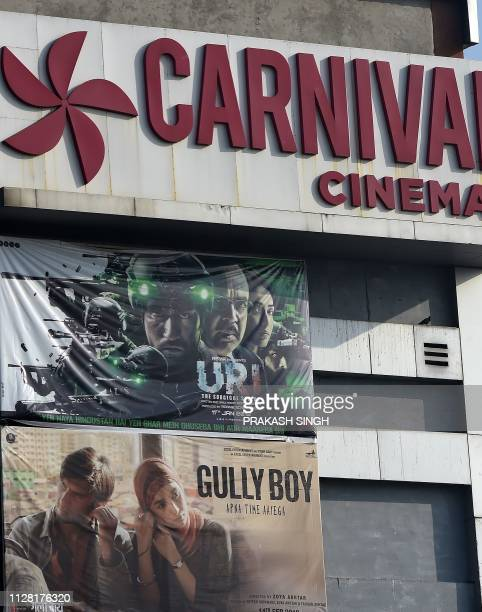 A banner for the Bollywood film Uri The Surgical Strike is pictured on the exterior of a cinema in Ghaziabad on March 1 2019 Since the recent raid by...