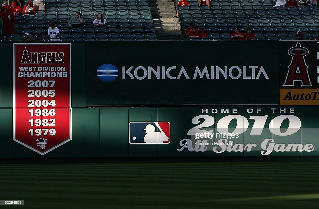 A banner for the Los Angeles Angels of Anaheim AL West