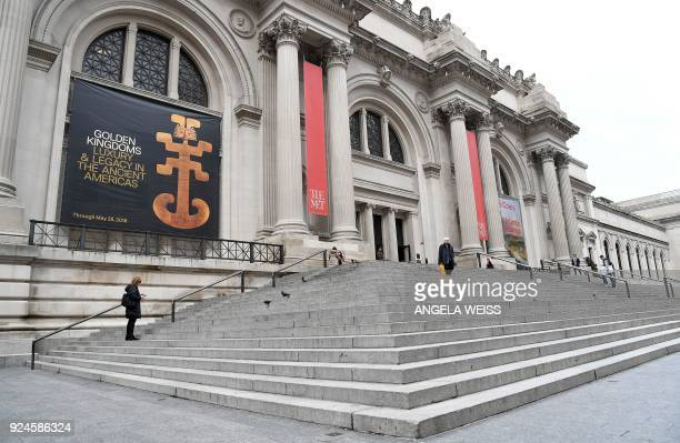 A banner for the upcoming Golden Kingdoms Luxury and Legacy in the Ancient Americas exhibition hangs outside The Metropolitan Museum of Art on...
