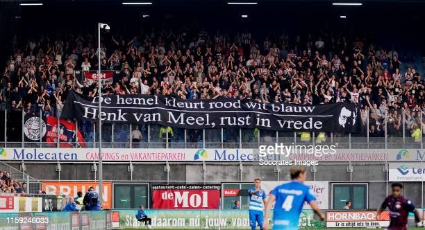 Banner from supporters of Willem II during the Dutch Eredivisie match between PEC Zwolle v Willem II at the MAC3PARK Stadium on August 2, 2019 in...