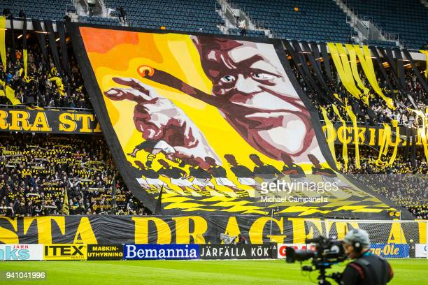 A banner from the AIK supporters is displayed during an Allsvenskan match between AIK and Dalkurd FF at Friends arena on April 2 2018 in Solna Sweden