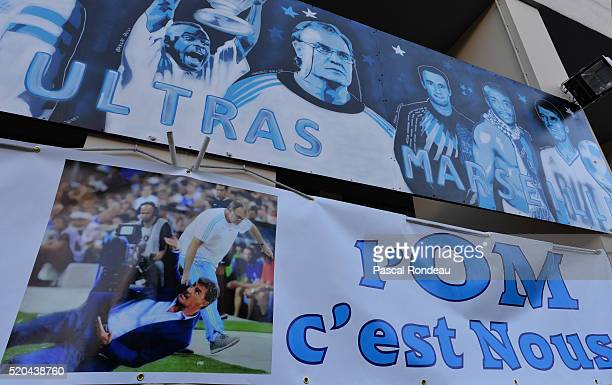 A banner from Ultra Marseille Fans showing a picture of previous coach Marcelo Bielsa taking away the actual one José Miguel Gonzalez Martin Del...
