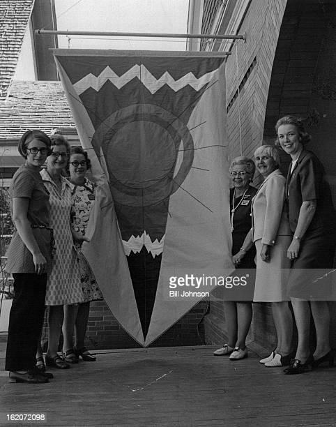 OCT 5 1971 OCT 7 1971 OCT 13 1971 Banner Graces Foothills art Center Entrance Embroiderer's Guild made banner over entrance of art center in Golden...