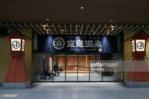 Banner hangs at the entrance to the Solaniwa Onsen spa at Osaka Bay Tower during a media tour in Osaka, Japan, on Thursday, Feb. 21, 2019. Fortress...