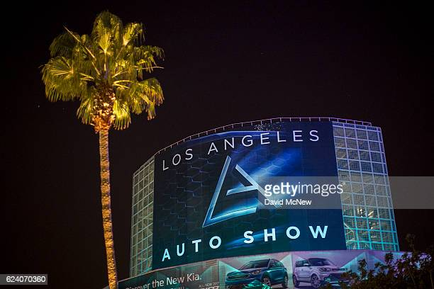 Banner hangs for the public opening of the LA Auto Show at the end of the four-day auto trade show AutoMobility LA at the Los Angeles Convention...