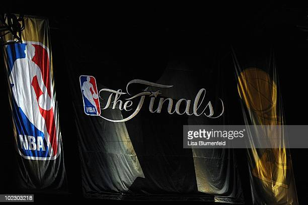 A banner hangs from the walls of Staples Center before Game Seven of the 2010 NBA Finals between the Boston Celtics and the Los Angeles Lakers on...