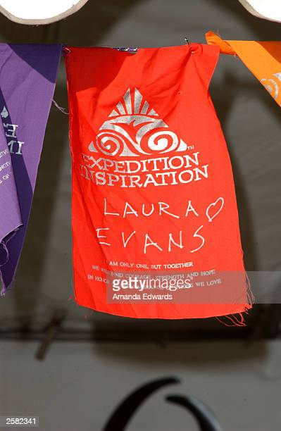 A banner hangs in honor of breast cancer survivor Laura Evans at the 8th Annual Expedition Inspiration TakeAHike at Paramount Ranch in the Santa...