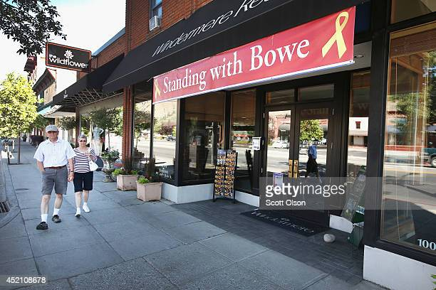 A banner hangs outside a store window one of the few public displays of support for freed Afghan POW Bowe Bergdahl remaining downtown in his hometown...