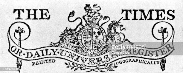 Banner head for The Times or Daily Universal Register. Detail from the heading of the first number, 1 st January 1788.