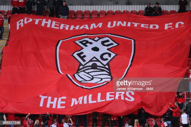 A banner held up by Rotherham Fans during the Sky Bet League One Play Off Semi FinalSecond Leg between Rotherham United and Scunthorpe United at The...