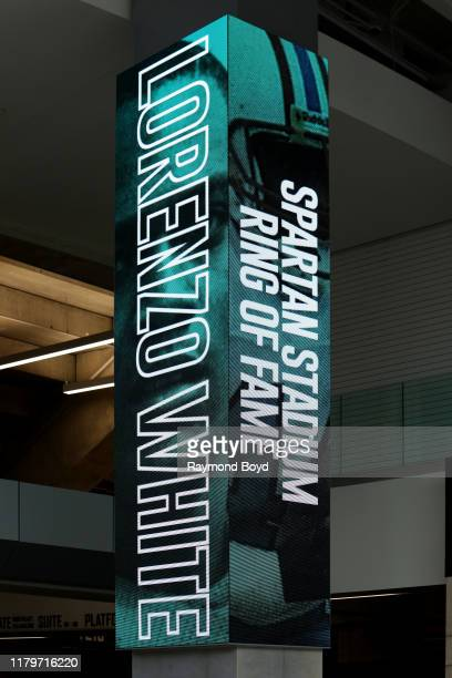 Banner honoring former football player Lorenzo White's Spartan Stadium 'Ring of Fame' is displayed in the Tom Izzo 'Basketball Hall Of History'...