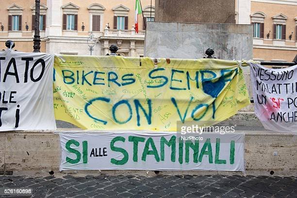 Banner in favour of Stem cell treatment. Photo: Massimo Valicchia/NurPhoto