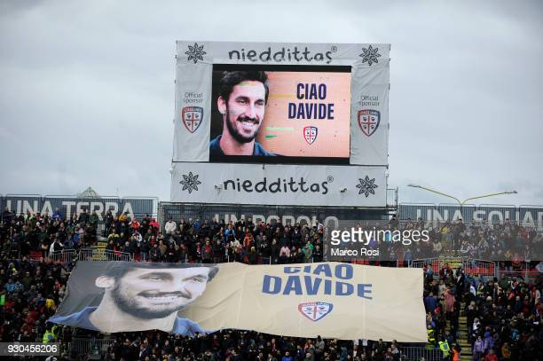 A banner in memory of Davide Astori is displayed during the Serie A match between Cagliari Calcio and SS Lazio at Stadio Sant'Elia on March 11 2018...
