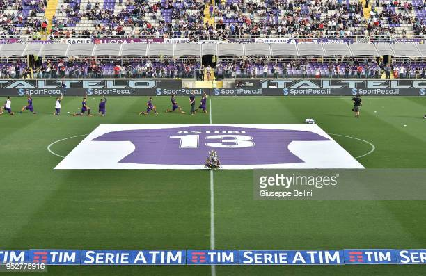 Banner in memory of Davide Astori prior the Serie A match between ACF Fiorentina and SSC Napoli at Stadio Artemio Franchi on April 29 2018 in...