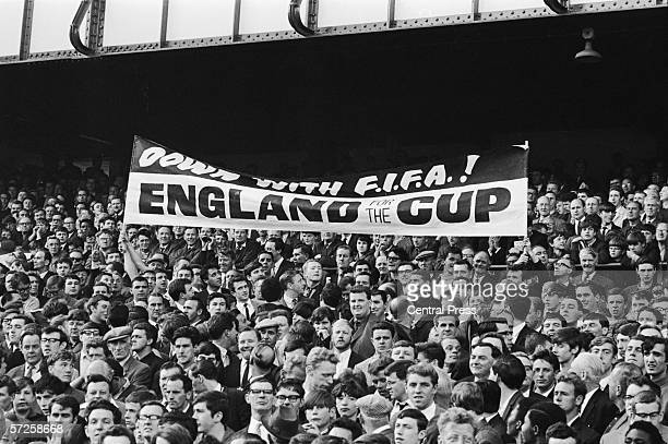A banner in the Goodison Park crowd during the 1966 World Cup semi final between West Germany and Russia 25th July 1966 The fans are protesting...