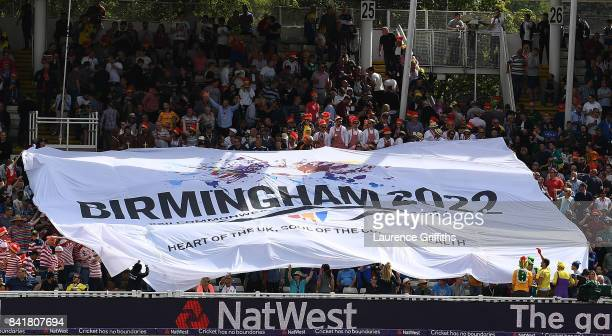 A banner in the ground for Birmingham's bid for the 2022 commonwealth games during the NatWest T20 Blast SemiFinal match between Birmingham Bears and...