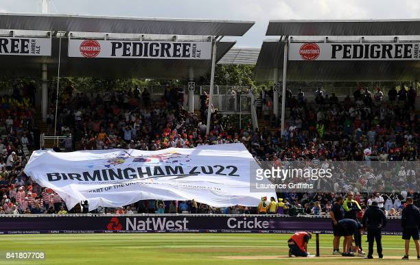 Banner in the ground for Birmingham's bid for the 2022 commonwealth games during the NatWest T20 Blast Semi-Final match between Birmingham Bears and...