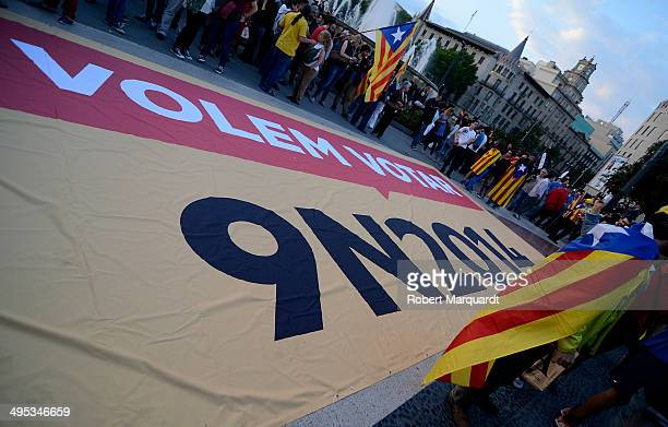 A banner is displayed in Plaza Catalunya urging people to vote in the November referendum for Catalonia independence on June 2 2014 in Barcelona...