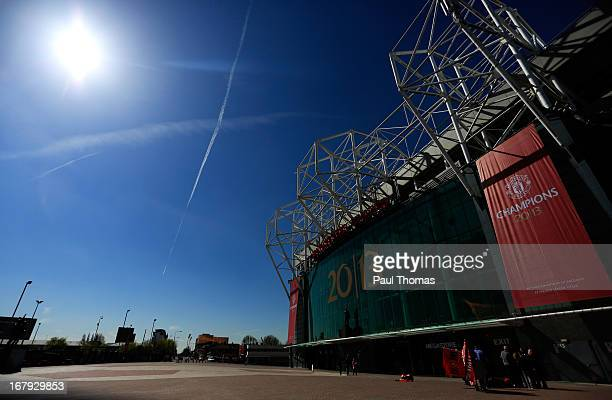 Banner is displayed outside the home Manchester United FC at Old Trafford on May 2, 2013 in Manchester, England. Manchester United are celebrating...