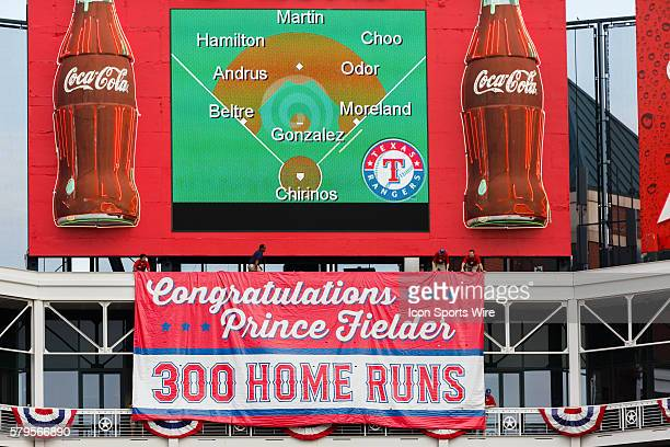 Banner is lowered in center field commemorating Texas Rangers Designated hitter Prince Fielder [4699] 300 career home runs during the MLB game...