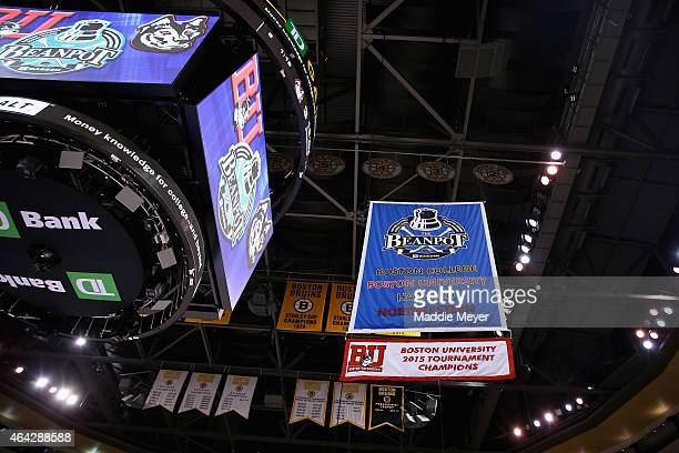 Banner is raised to the rafters celebrating Boston University's win over Northeastern University following the 2015 Beanpot Tournament Championship...