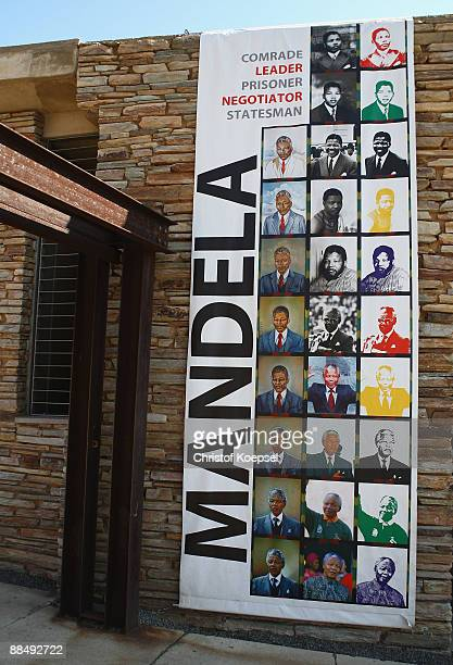 A banner is seen in front of the Apartheid museum on June 13 2009 in Johannesburg South Africa