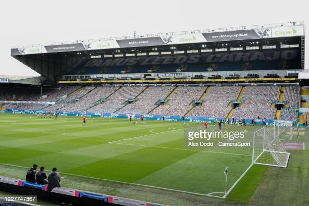 A banner is seen inside Elland Road before the game during the Sky Bet Championship match between Leeds United and Charlton Athletic at Elland Road...