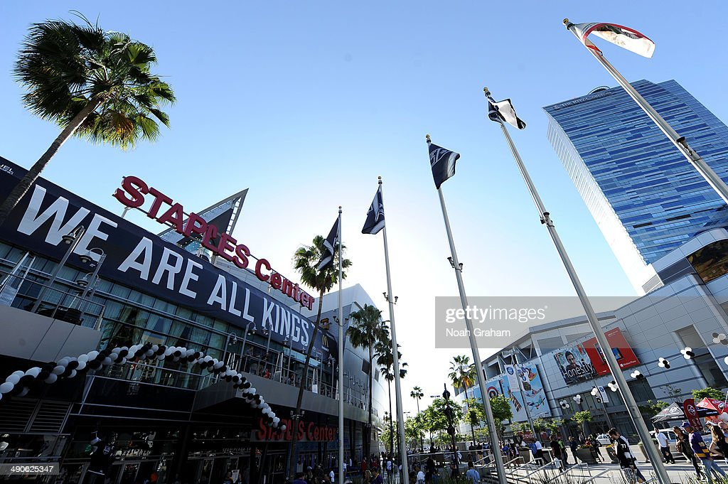 A banner is seen outside the arena before the Anaheim Ducks face off against the Los Angeles Kings in Game Six of the Second Round of the 2014 Stanley Cup Playoffs at Staples Center on May 14, 2014 in Los Angeles, California.