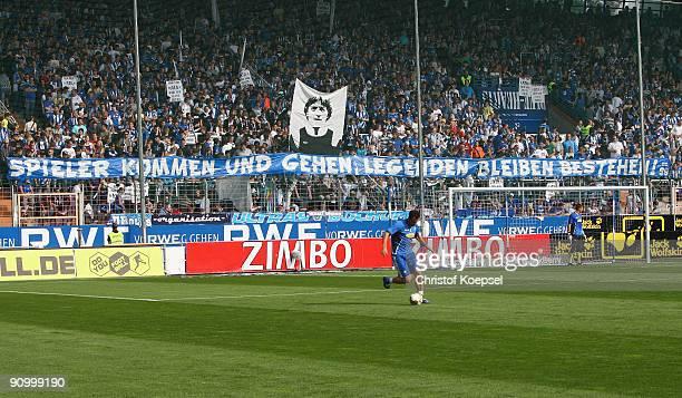 Banner is seen prior to the Bundesliga match between VFL Bochum and FSV Mainz at Rewirpower Stadium on September 19, 2009 in Bochum, Germany.